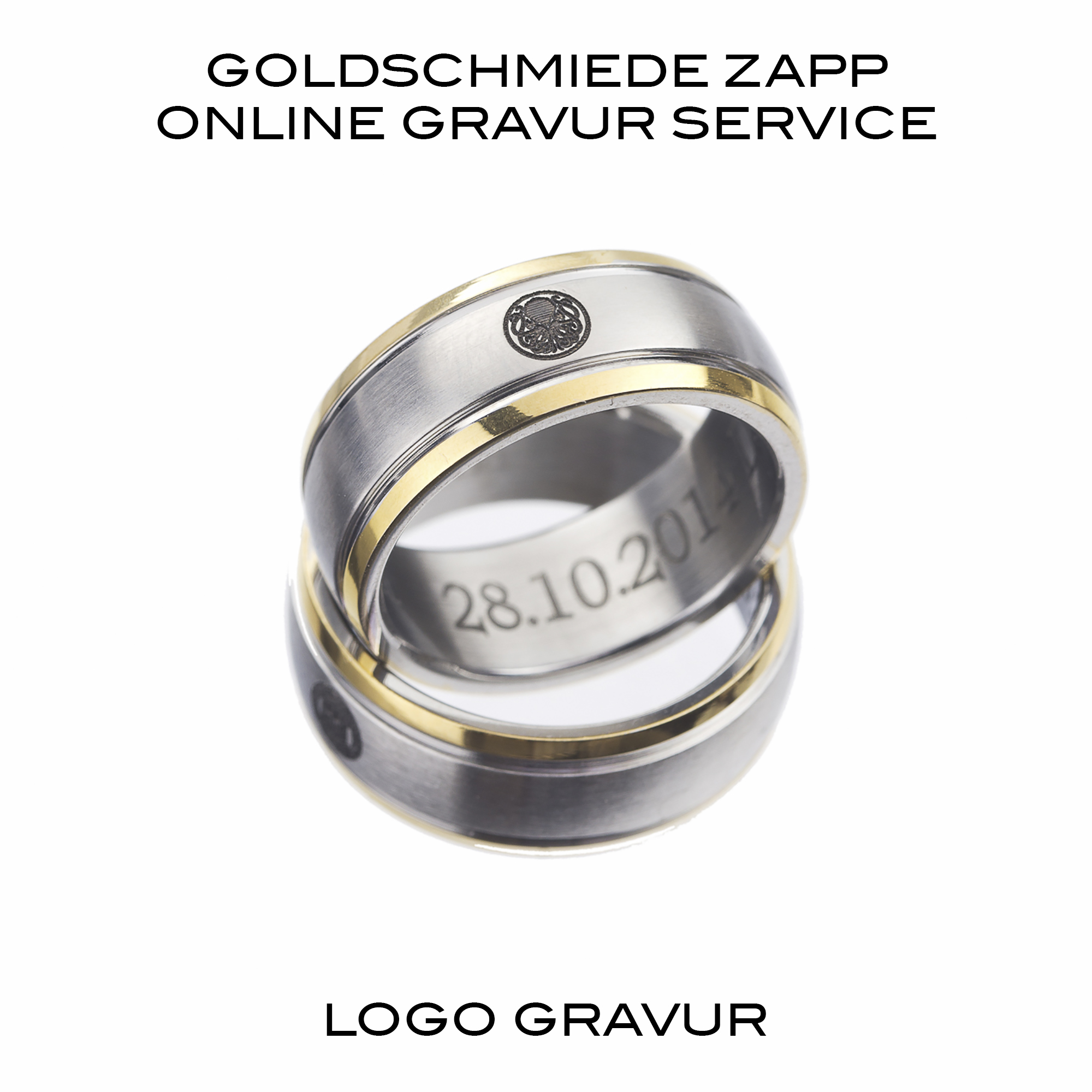 logo in trauringe gravieren lassen goldschmiede juwelier zapp seit 1907. Black Bedroom Furniture Sets. Home Design Ideas