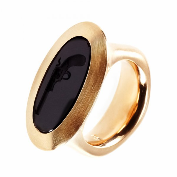 Petra Giers  Ring Pistole in 750 Rotgold