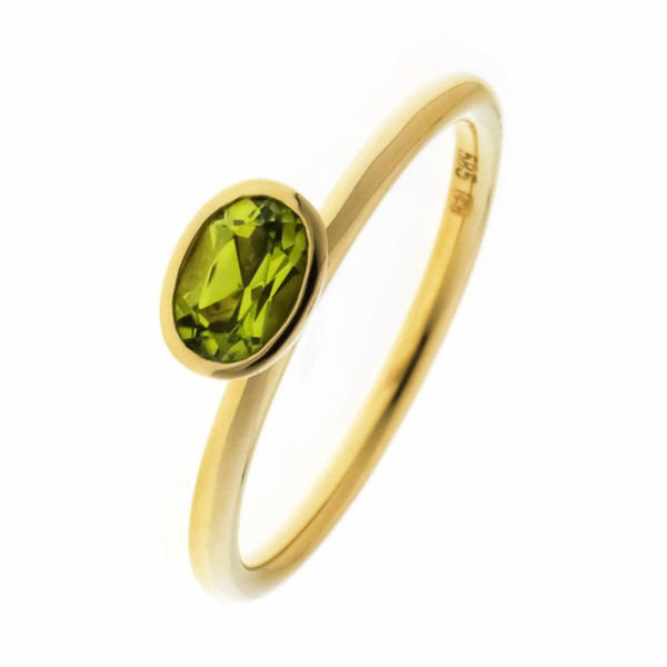 A.Odenwald Ring Scampolo Gelbgold mit ovalem Peridot